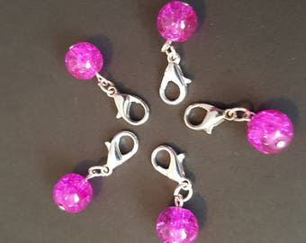 Pink Sparkly Glass Bead Stitch Markers