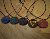 Wooden Witcher Sign Pendant - Coloured - The Witcher