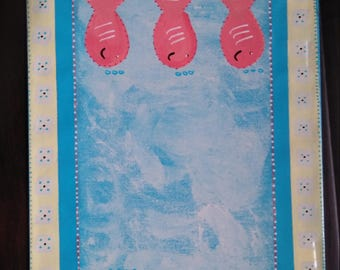 Six Giant Happy Fish Whimsical Floor Cloth/Mat