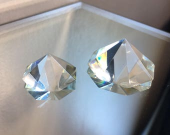 Set Of Two Clear Prism Crystals