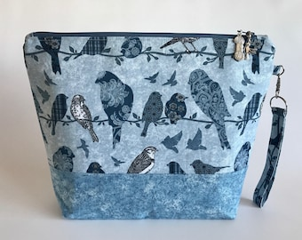 Blue Birds - medium sized project bag for Knitting/Crochet