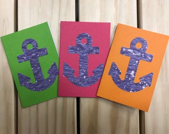 6 pack of multicolor anchor mini cards