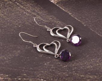 Very Beautiful Look With HEart Style 92.5 Sterling Silver Earrings Womens Jewellery 3.57 Gms. Length 4.00 Code MGJ 19