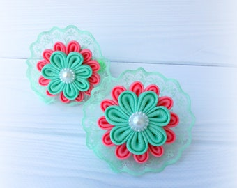 Lace ponytails holders Set of 2 ponytails holders Mint pink kanzashi flower Tsumami kanzashi Origami fabric flower Japanese technique Girl