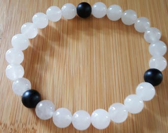 Strength, Quartzite and Matte Onyx Bracelet