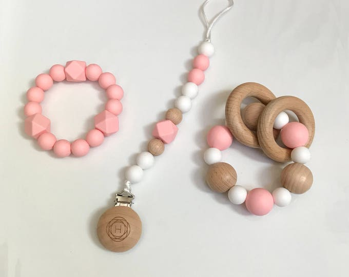 Baby Shower Gift Set! Natural Wood Rattle, Teether & Pacifier Clip