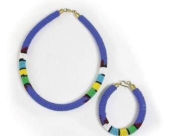 Light Blue Beaded Maasai Necklace