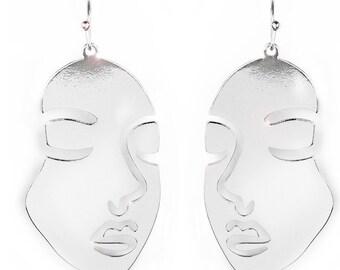 Urban Face Print Earrings