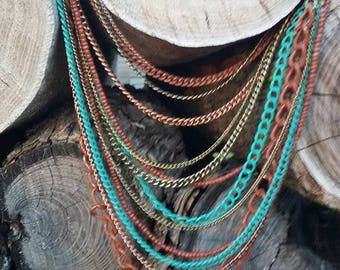 Turquoise and Copper multi chained Necklace