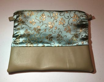 Gold Floral and Turquoise Clutch Purse