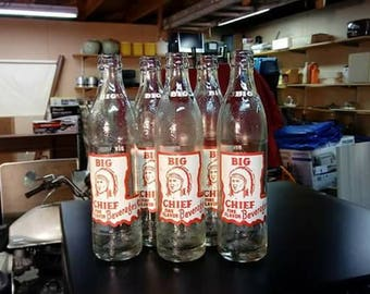Vintage Big Chief glass soda bottles