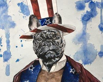 Dog Character Painting-Dog Portraits-Custom Watercolor Pet Portrait-Unique Gift-Pet Portrait-Rocky
