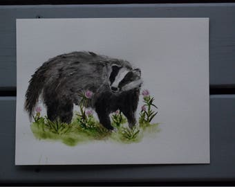 Watercolour Badger in Thistles