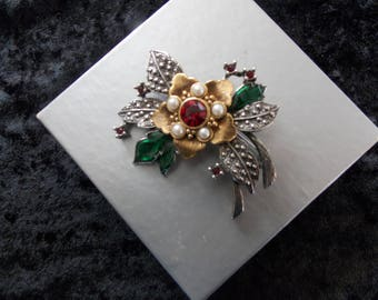 Vintage Avon Signed Flower Silver & Gold Tone Faux Pearl Brooch Pin #E31