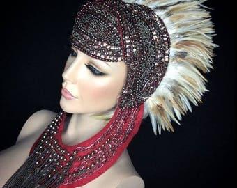 Tribal fantasy feather headdress
