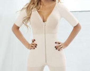 Beige Deep V-neck Zipper Slimming Body Shapers for Women