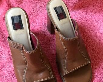 Brown slip on wedge pumps