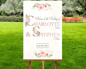 Floral Letters Wedding Welcome Sign