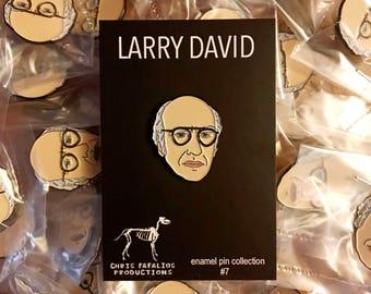 Larry David head enamel pin