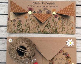 Vintage Wedding Invitation & RSVP card - Sample card in Amber