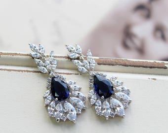 Blue Art Deco Earrings ,Vintage Style Crystal  Earrings, Bridal Earrings,  Wedding Earrings, Crystal Drop Earrings, Dangle Crystal  Earrings