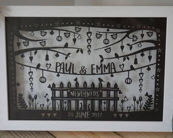 NEW Newlyweds personalised framed papercut wedding gift