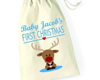 Personalised Baby Boys First Christmas Santa Sack Reindeer Xmas Present Stocking Drawstring Keepsake Tumblr Pintrest