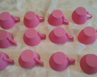 Set of Twelve (12) Pink Tea Cup/Cupcake Silicone Baking Cups/Tea Party/ Eco Friendly/Reusable/Non Stick Baking/Princess/DIY/Girly/Sweet/