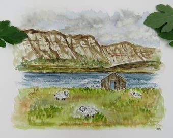 Sheep Farm in Iceland (Original Watercolor)