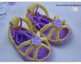 Crochet Baby / Baby Sandals / Girls Sandals / Baby Shoes / Flip Flops / Gladiator Sandals / Barefoot / Newborn Gift / Summer Sandals / Easy