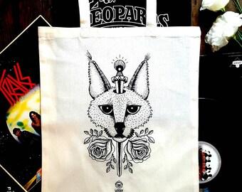 "Organic canvas print ""Lynx Pierced"" tote bag in organic cotton, handbag lynx, tattoo, Tote, pink cat tote bag, tote course books"