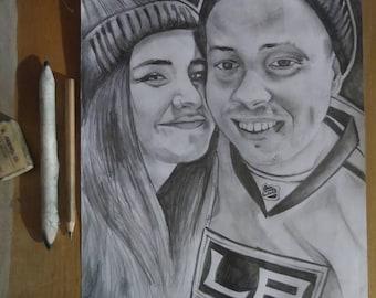 Custom hand drawn portrait custom selfie sketch valentines gift