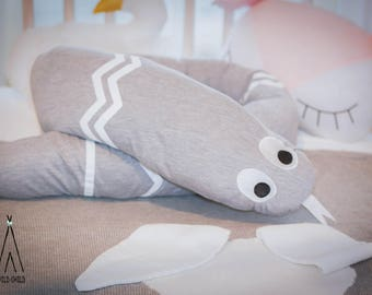 Grey, snake, baby bed bumper, cotton, newborn pillow, head bumper, nursery décor, baby shower gift, snake pillow, roll pillow, crib bumper