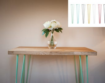 Solid Oak Hairpin Dining Table 2-4 Person Industrial Vintage Style