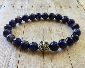 Faceted Sodalite Stretch Bracelet with Thailand Sterling Silver Accent Bead