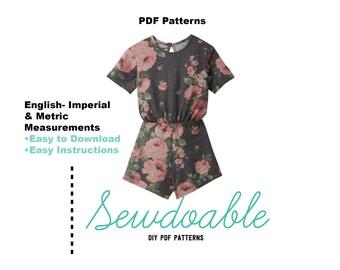 Tee Shirt Romper PDF Pattern