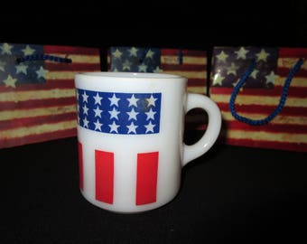 4th of July Stars and Stripes Red White and Blue Mug Milk Glass