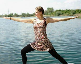 YogaKleid, yoga, ReiseKleid, summer dress, dress, YogaDress, dress, comfortable - Africa print Brown