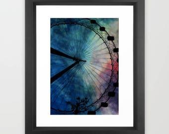 Instant Download, London Eye Print, Fine Art Print, Wall Art Prints, Watercolour Print, Greeting Card Prints, Large Art Print