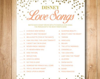 Pink and Gold Bridal Shower Games - Disney Love Songs Bridal Shower Game - Printable Instant Download - Gold Confetti - Digital Print