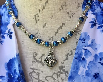 Blue and silver heart necklace set