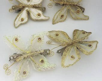 Gold and glitter butterfly barrettes