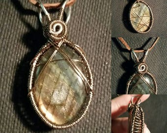 Simple Labradorite Wire Wrapped Pendant!