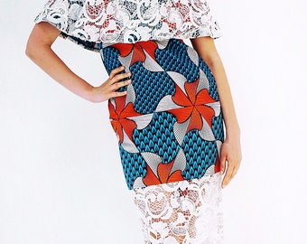 African Print Ankara Lace Dress with cut out Sleeves