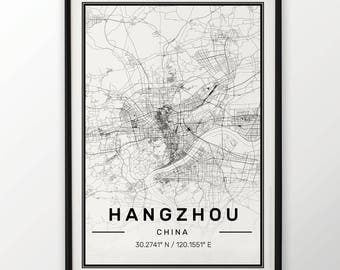 Hangzhou City Map Print Modern Contemporary poster in sizes 50x70 fit for Ikea frame 19.5 x 27.5 All city available London, New York Paris
