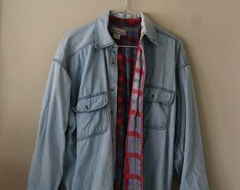 80s Open Trails Denim Flannel Lined Shirt