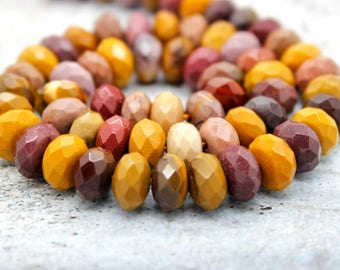 Mookaite Faceted Rondelle Beads Gemstone