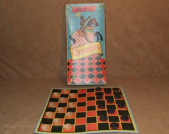 Wooden Draughts Set By Chad Valley - Boxed & Complete - Vintage Circa 1950's