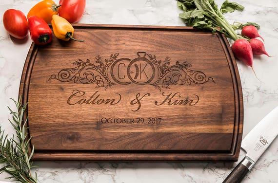 Custom Wood Cutting Board, Personalized Gift, Engraved, Monogrammed Gift, Gift for Her, Gift for Wife, Wedding Gift, Gift for Couple