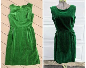 Vintage 1960's Green Velvet Midi Dress w Detachable Matching Belt, Small